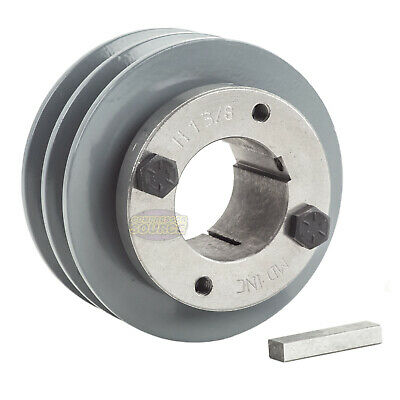 Cast Iron 3.5 2 Groove Dual Belt A Section 4l Pulley With 1-38 Sheave Bushing