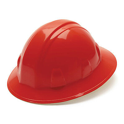 Pyramex Hard Hat Red Full Brim With 4 Point Ratchet Suspension Hp24120
