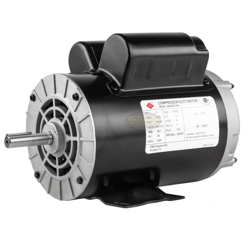 """3.7 HP 3450 RPM Electric Motor Compressor Duty 56 Frame 1 Phase 5/8"""" Shaft 230 V"""