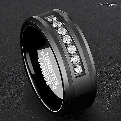 Inlay Tungsten Band (8Mm Black Tungsten Carbide Ring Diamonds Inlay Comfort Fit ATOP MEN Wedding Band )