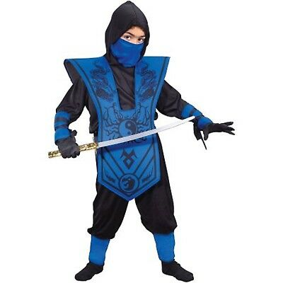 Dragon Ninja Halloween Costume (Boys BLUE Dragon Ninja 7 pcs Costume Complete XL(14-16) Warrior Outfit)