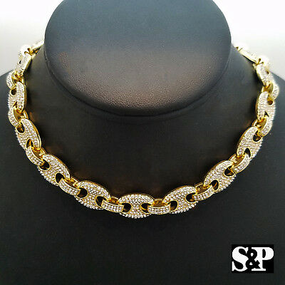 """Women's Hip Hop Iced out Gold PT GUCCI Link Choker 16"""", 18"""", 20"""" Chain Necklace"""