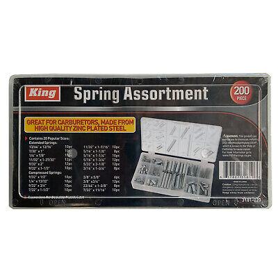 200pc Spring Assortment Set Zinc Plated Steel Compression Extension Carburetor
