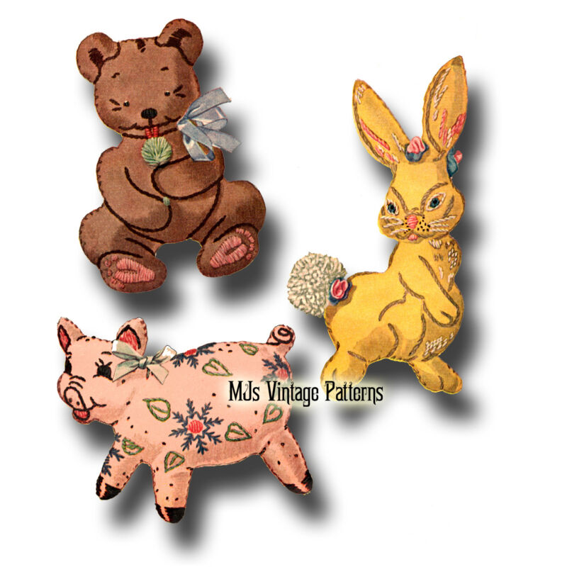 Vintage Stuffed Bear, Bunny & Pig Stuffed Animal Pattern