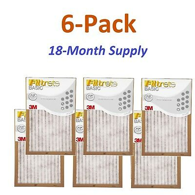 16x20x1 Filtrete Filter (6-Pk (16 x 20 x 1) Filtrete-Basic 3M Air-Filter Replacement Pad Furnace Dust Lot)