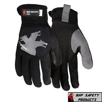 Mechanics Work Gloves Handyman Synthetic Leather Grip Washable Hyperfit Black