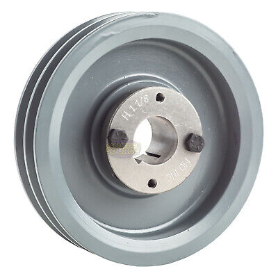 Cast Iron 6.25 2 Groove Dual Belt A Section Pulley With 1-18 Sheave Bushing