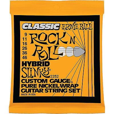 - Ernie Ball 2252 Pure Nickel Wrap Hybrid Slinky Electric Guitar Strings 9-46