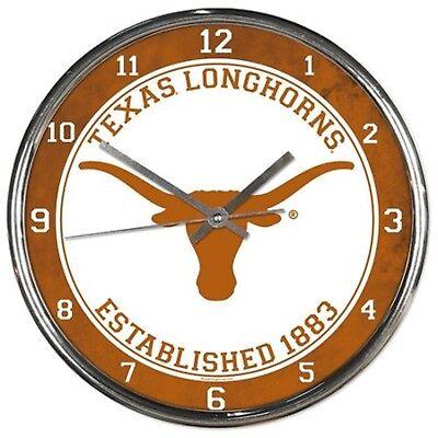 University of Texas Longhorns 12 Inch Round Chrome Orange Wall Clock Austin NCAA Orange 12 Wall Clock