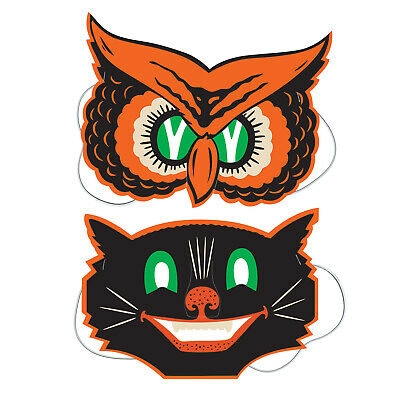 2 Retro HALLOWEEN Die Cut Cutout MASKS OWL CAT Vintage Beistle 1940 - Halloween Owl