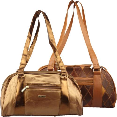 Stefano Damen Baguette Handtasche Leder Patch Design Umhängetasche 36/21/14cm