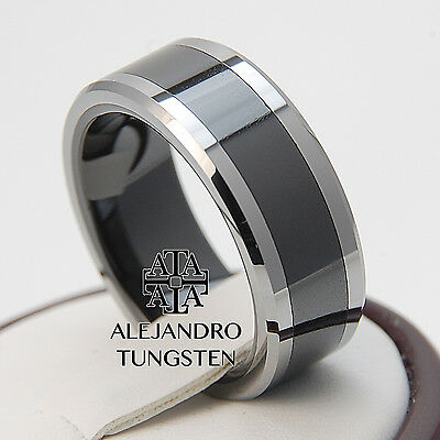 Black Tungsten Ring Comfort Fit Wedding Men's Band 8MM Elegant Dsg Size 14 #RTD