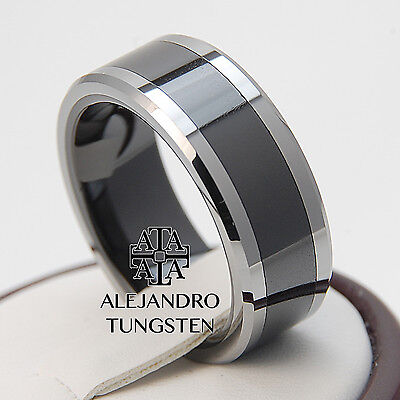 Black Tungsten Ring Comfort Fit Wedding Band Comfort 8MM Durable Size 7 #IBA