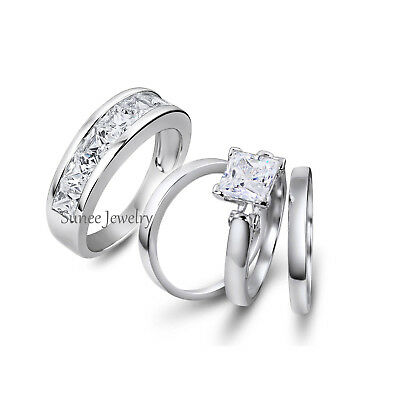 His and Hers Princess Cut 925 Sterling Silver Wedding Engagement Ring Set