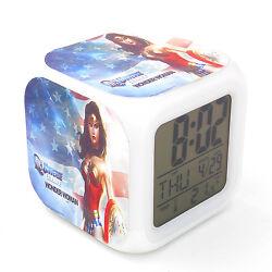 New Led Alarm Clock Wonder Woman Creative Digital Table Clock for Kids Toy Gift