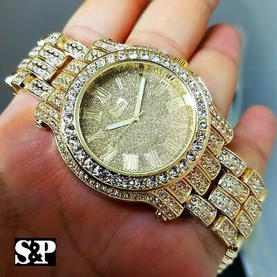 Diamond Luxury Watch - Men Luxury Iced Hip Hop Gold Plated Bling Lab Diamond Metal Fashion Urban Watch