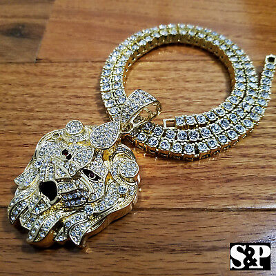 "Men Hip Hop Iced Out Big Lion Head pendant & 16"" 18"" 20"" 1 ROW Tennis chain set"