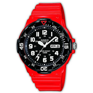 mens casio divers watches casio collection mrw 200hc 4bvef red diver style quartz unisex date waterproof