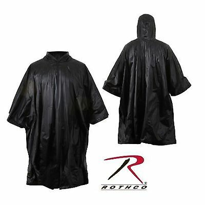US Army Military Marines Boy Scout Hiking Camping Black Rain Coat Poncho Shelter