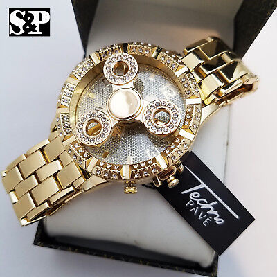 Hip Hop Men's Iced Gold Plated Lab Diamond Spinner Metal Band Wrist Bling Watch