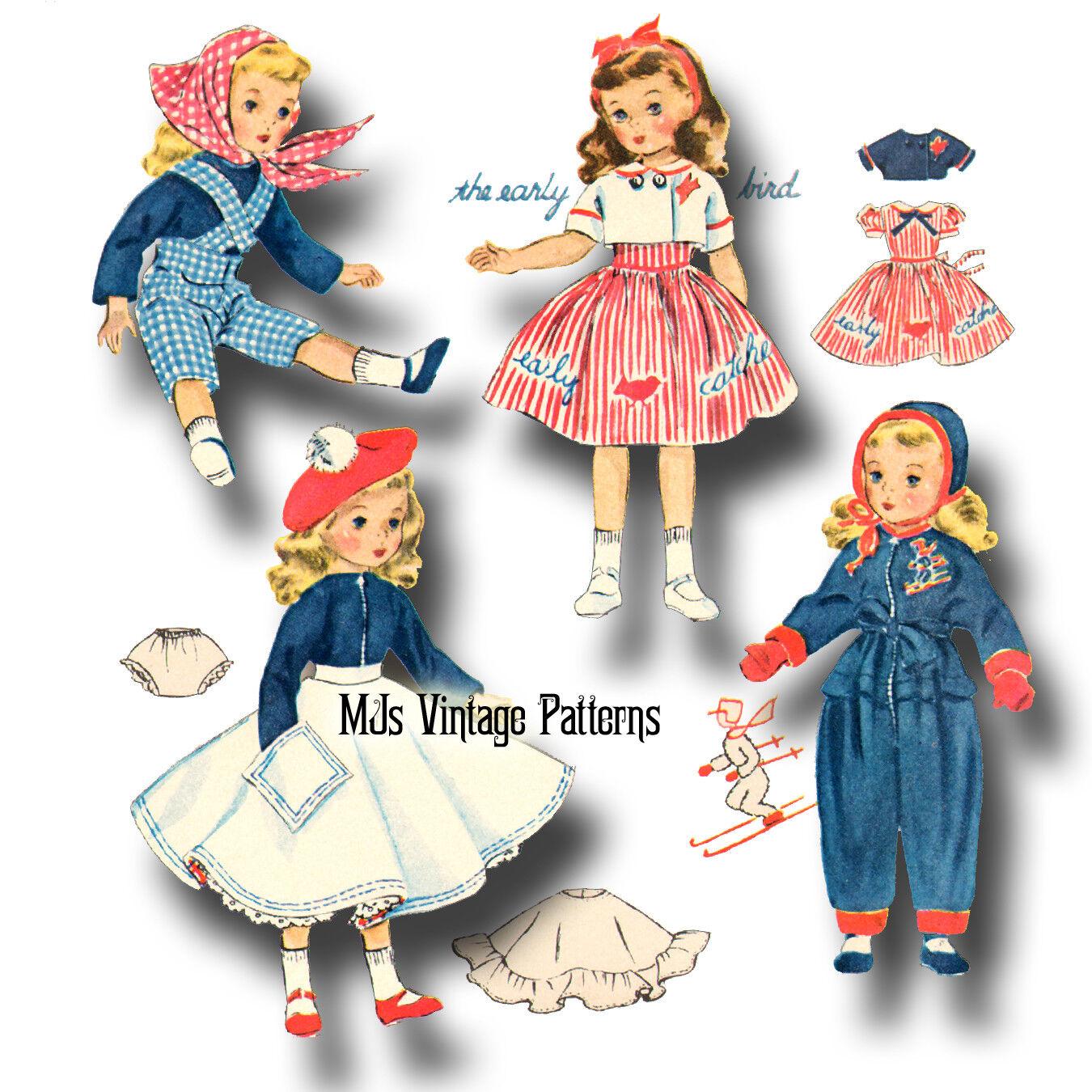 "Vtg Doll Clothes Dress Pattern 20/"" 21/"" Toni Cissy Miss Revlon Sweet Sue"