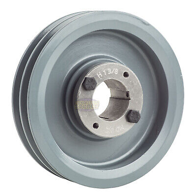 Cast Iron 6 2 Groove Dual Belt A Section 4l Pulley With 1-38 Sheave Bushing