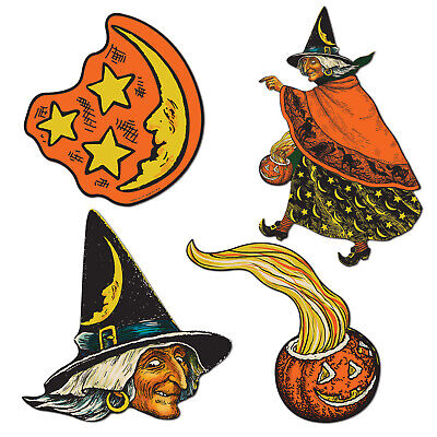 Halloween Cutouts Pumpkin (Vintage Halloween 4/pkg Witch, JOL Pumpkin, Crescent Moon Stars Cutouts)