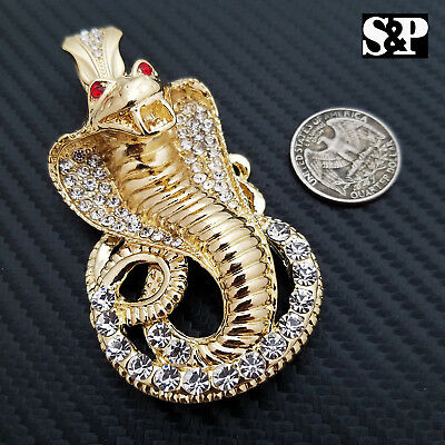 HIP HOP ICED OUT LAB DIAMOND GOLD PLATED RAPPER'S LARGE COBRA SNAKE PENDANT Cobra Snake Pendant Jewelry