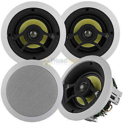 "4 Pack 5.25"" 2-Way In-Ceiling Speakers 80W RMS DCM by MTX Audio White Grill"