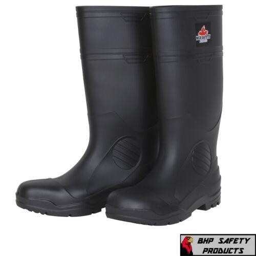 Rubber Fishing Hunting Boots Black Waterproof PVC Mens Work Mud Dirt w/Steel Toe
