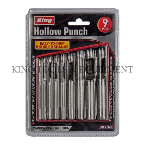 King 9pc Heavy-duty Hollow Hole Punch Set, Gasket Vinyl Plastic Rubber Leather