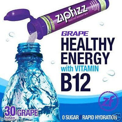 Zipfizz Vigorous Energy Drink Mix Grape 30 Tubes