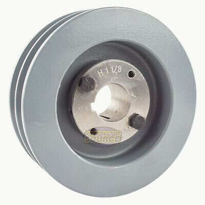 Cast Iron 5.5 2 Groove Dual Belt B Section 5l Pulley W 1-18 Sheave Bushing