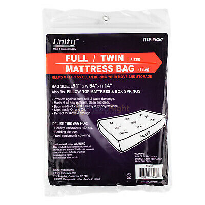 Durable Plastic Full/Twin Mattress Cover Dust Water 2 Mil Heavy Duty Storage -