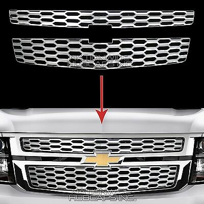 2015-18 Chevy Tahoe Suburban CHROME Snap On Grille Overlays Grill Covers Inserts