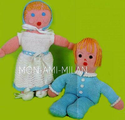 Rag Dolls Knitting Pattern Photocopy To Make Girl Boy Baby Dolly Toys 12.5