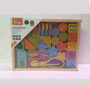 Wooden Lacing Blocks - building blocks - brand new Ascot Brisbane North East Preview