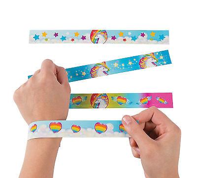 12 Unicorn Slap Bracelets Mythical Rainbow Kid's Birthday Party Favors
