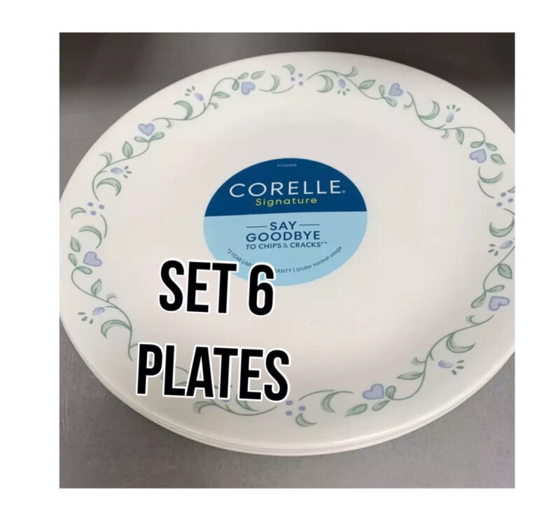 """SET OF 6 NEW Corelle COUNTRY COTTAGE Lunch Plates 8.5"""" Luncheon Hearts"""