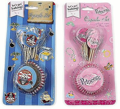 48pc Pirate and Princess Cupcake Set Cases Kids Birthday Party Decoration - Princess And Pirate Decorations