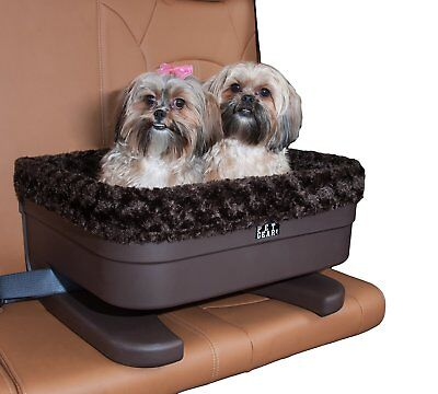 Pet Gear Medium Dog Raised Car Seat carrier in Chocolate Swirl with plush pad