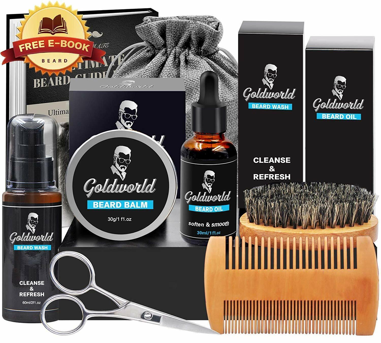 Beard Hair Growth Care Grooming Kit Oil Wax Comb Brush Scissors Gift Set For Men