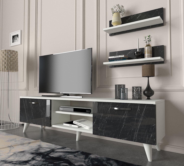 Wohnwand Weiss Wohnzimmerschrank Modern Tv Lowboard