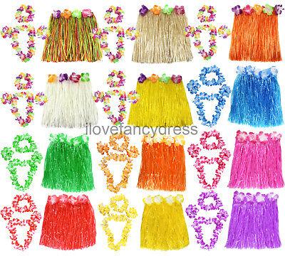 SHORT 40CM HAWAIIAN HULA SKIRT AND 4 PC LEI SET LADIES LUAU FANCY DRESS COSTUME](Hula Skirts And Leis)