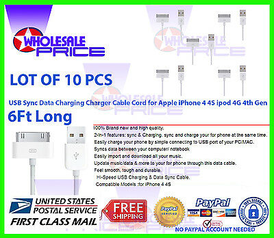 10X 6FT USB Charger Cablegram Cord Copatible to charge iPhone 4 4S ipod 4G 4th