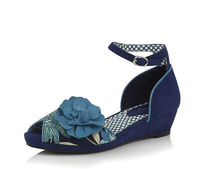 Ruby Shoo NEW Phyllis royal blue floral low heel cork wedge peep toe shoes 3-8 Royal Ruby