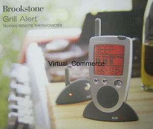 NEW-BROOKSTONE-Grill-Alert-Talking-Remote-Meat-Thermometer-Transmitter-Wireless