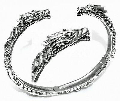massiv 925Silbe Armreif Viking Drache Wikinger Armspange Drachen Mittelalter L