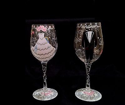 Lolita Wedding 2-Piece 15 ounce Wine Glass Set for Bride and Groom- New in