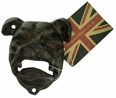 Rustic Vintage Cast Iron Bulldog Dog Head Wall Mounted Beer Bottle Opener